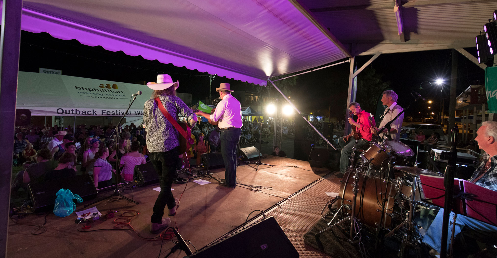 Band entertainment on stage at Outback Festival