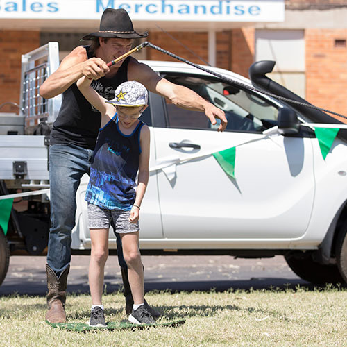 Whip Cracking Workshops at Outback Festival