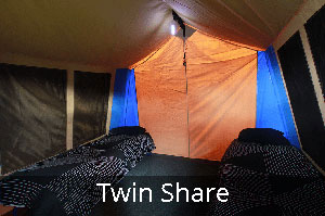 Twin Share Tent in Club Paterson Tent City