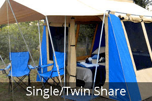 Club Paterson Tent City single or twin Share tent